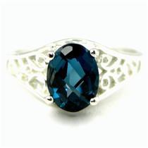 London Blue Topaz, 925 Sterling Silver Ring, SR005