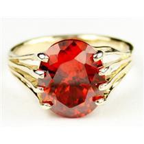 R280, Created Padparadsha Sapphire, Gold Ring