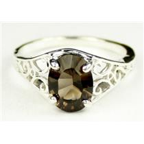 Smoky Quartz, 925 Sterling Silver Ring, SR005