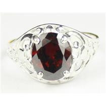 Garnet CZ, 925 Sterling Silver Ring, SR004