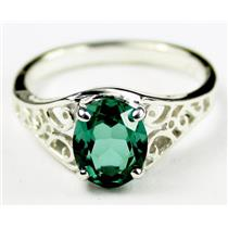 Russian Nanocrystal Emerald, 925 Sterling Silver Ring, SR005