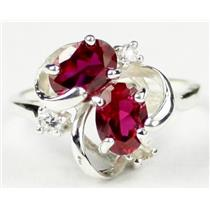 SR016, Created Ruby, 925 Sterling Silver Ring