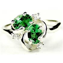 SR016, Russian Nanocrystal Emerald, 925 Sterling Silver Ring