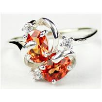 SR016, Created Padparadsha Sapphire, 925 Silver Ring