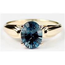 R058, Quantum Cut London Blue Topaz, Gold Ring