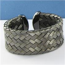 Roberto Coin 5th Season Medium Woven Cuff Blackened Sterling Silver New $1255