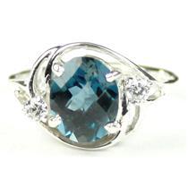 SR021, London Blue Topaz, 925 Sterling Silver Ring