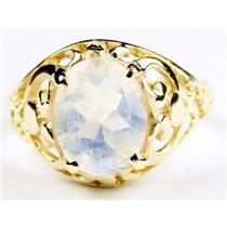 Rainbow Moonstone, Gold Ring, R004