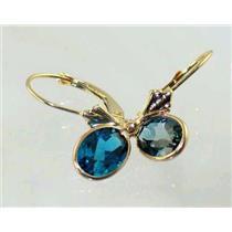 E001, London Blue Topaz, 14k Gold Earrings