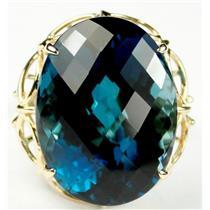R068, London Blue Topaz, Gold Ring