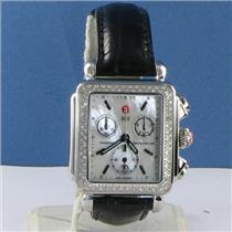 Michele MW06A01A1025 Deco Diamond 0.60cts Chronograph Blk Croc Strap Watch $1895