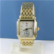 Michele Deco 16 Yellow Gold Tone DIamond MOP Dial Watch MWW06V000004 NWOT $1545