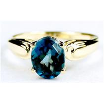R058, London Blue Topaz, Gold Ring
