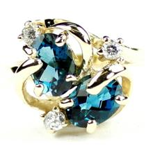 R016, London Blue Topaz, Gold Ring