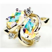 R016, Mercury Mist Topaz, Gold Ring