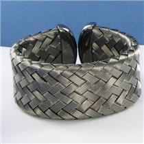 Roberto Coin 5th Season 29mm Wide Woven Cuff Bracelet Blk Sterling Silver $1400