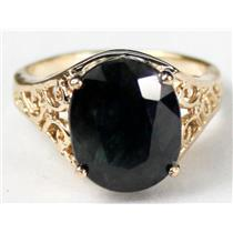 R057, Midnight Blue Natrual Sapphire, Gold Ring