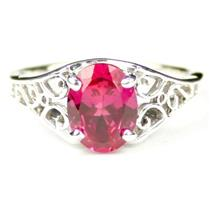 Created Pink Sapphire, 925 Sterling Silver Ring, SR005