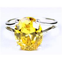 Golden Yellow CZ, 925 Sterling Silver Ring, SR132,