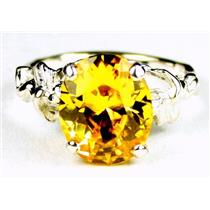 Golden Yellow CZ, 925 Sterling Silver Ring, SR154