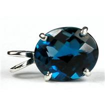 SP040, London Blue Topaz 925 Sterling Silver Pendant