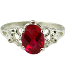 SR302, Created Ruby, 925 Sterling Silver Ring
