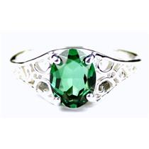 SR305, Russian Nanocrystal Emeraldl, 925 Sterling Silver Ring