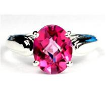 SR058, Created Pink Sapphire, 925 Sterling Silver Ring