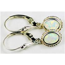 SE006, Created White Opal, 925 Sterling Silver Rope Earrings