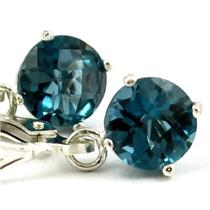 SE017, London Blue Topaz, 925 Sterling Silver Earrings