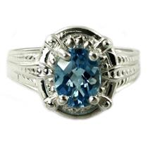 SR284, Swiss Blue Topaz, 925 Sterling Silver Ring