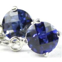SE017, Created Blue Sapphire, 925 Sterling Silver Earrings