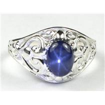 Natural Blue Star Sapphire, 925 Sterling Silver Ring, SR111,