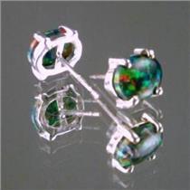 SE002C, Created Black Opal, 925 Sterling Silver Opal