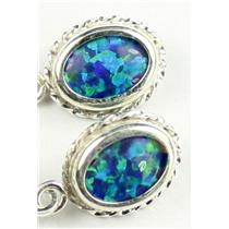 SE006, Created Blue/Green Opal, 925 Sterling Silver Rope Earrings