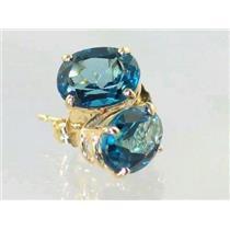 E002, London Blue Topaz, 14k Gold Earrings