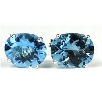 Swiss Blue Topaz, 925 Sterling Silver Earrings, SE102