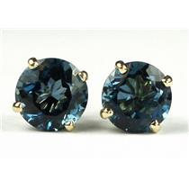 E112, London Blue Topaz, 14k Gold Earrings