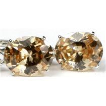 SE107, Champagne CZ, 925 Sterling Silver Earrings