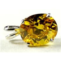 SP040, Golden Yellow CZ, 925 Sterling Silver Pendant