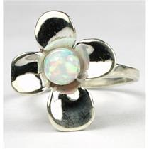 SR315, 6mm Created White Opal, 925 Sterling Silver Ring