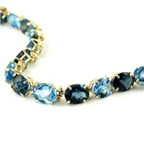 B003, London & Swiss Blue Topaz, Gold Bracelet