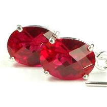 SE003, Created Ruby, 925 Sterling Silver Threader Earrings
