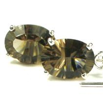 SE003, Smoky Quartz, 925 Sterling Silver Threader Earrings
