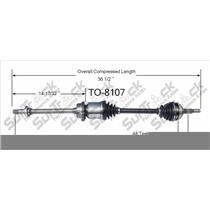 TO-8107 CV Axle Shaft - New, Front Right P/S 94-99 Celica 2.2L GT M/T or A/T
