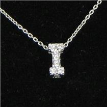 Roberto Coin Initial Thoughts Letter I Diamond 0.03cts 18K WG Necklace New $580