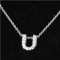 Roberto Coin Initial Thoughts Letter U Diamond 0.06cts 18k WG Necklace New $580