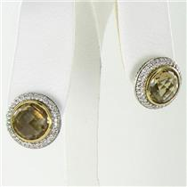 David Yurman Earrings Buttons/Studs 1.02cts Diamonds Citrine 18k Yellow Gold Sterling Silver NEW