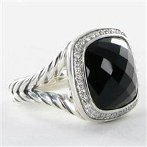 David Yurman Ring Sz 6 Albion 14mm 0.30cts Diamonds Black Onyx Sterling Silver NEW $1475