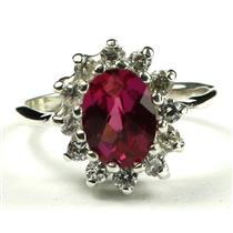 SR235, Crimson Fire Topaz, 925 Sterling Silver Ladies Cluster Ring